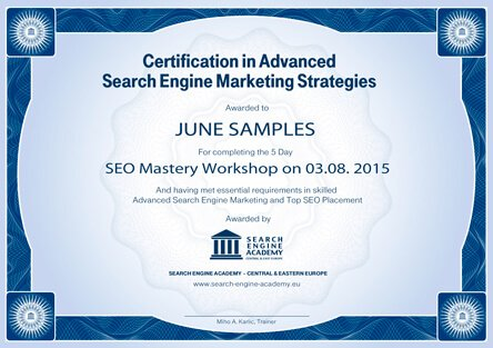 Online Marketing Certification, Search Engine Academy Europe